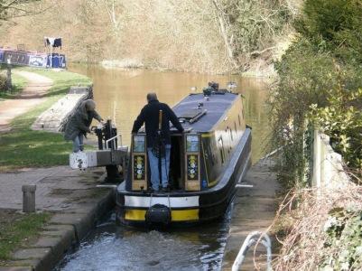 Barge passing through a lock